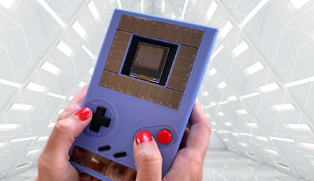 GameBoy with Apollo3 Blue with tech background