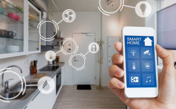 Smart home technology interface on smartphone app