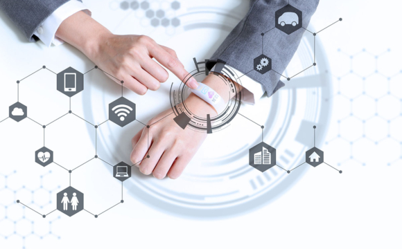 white smartwatch and IoT concept wearable device