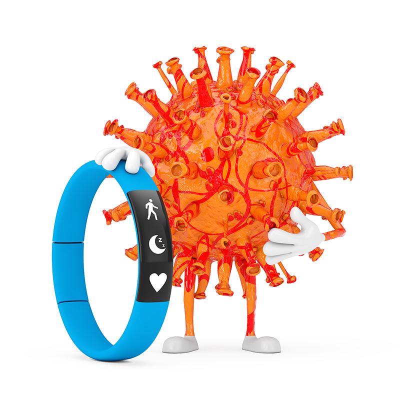 cartoon coronavirus mascot with blue fitness tracker
