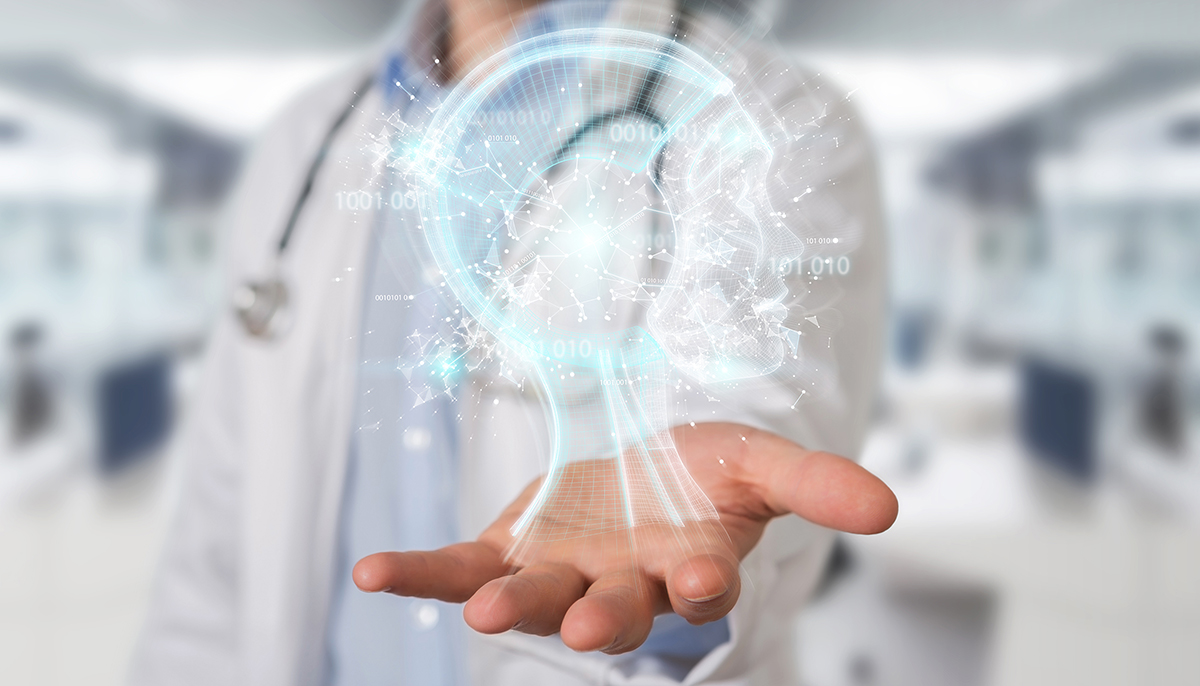 doctor using digital AI interface 3D rendering
