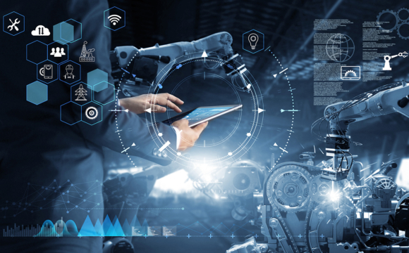 industrial engineer working with AI automation robot arm