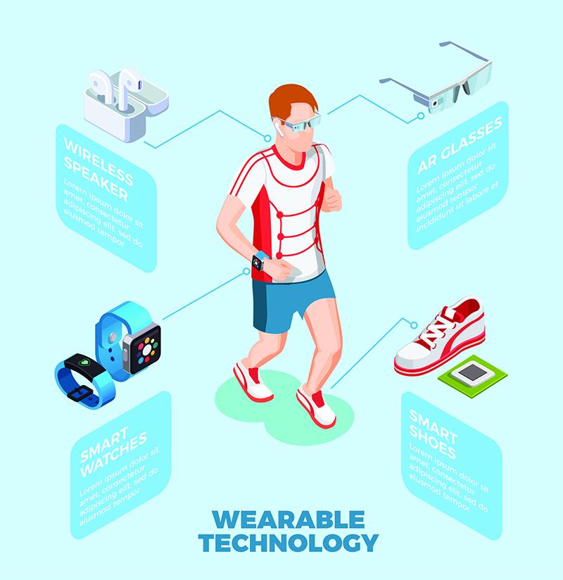 jogging man wearing smart shoes watch ar glasses wireless speaker