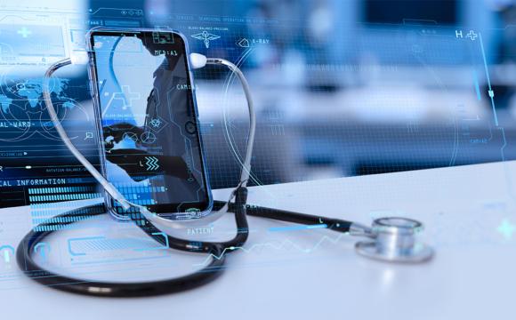 medical doctor online communicating on VR medical interface