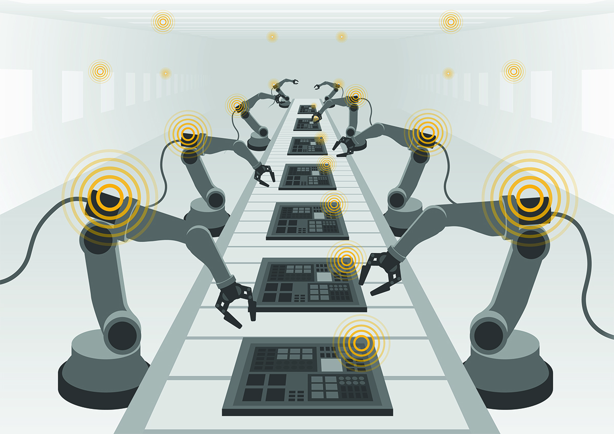 robot hands and conveyor belt IoT factory