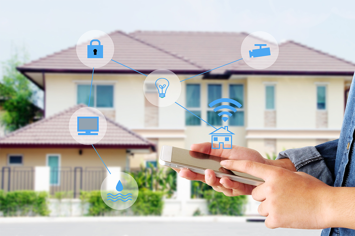 Smart,Home,Secured,Automation,With,Wifi,Technology,,Hand,Using,Smartphone