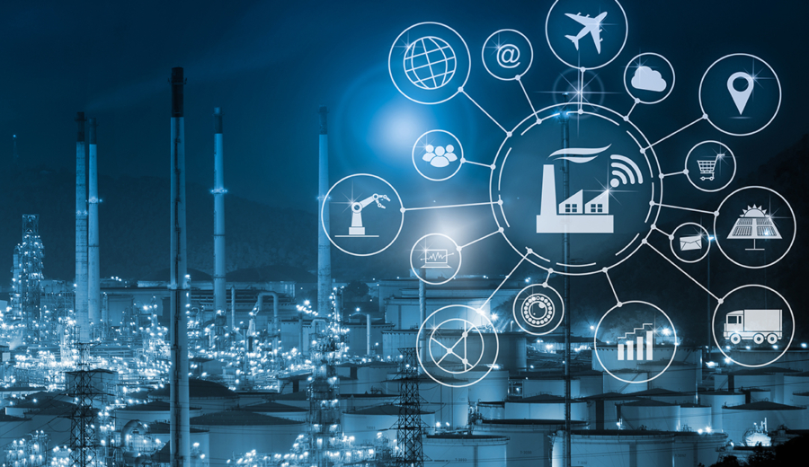 Industry 4.0 Concept Smart Factory with Icon Flow