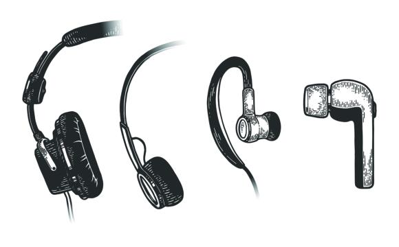 Headphone Evolution Sketch Line Art