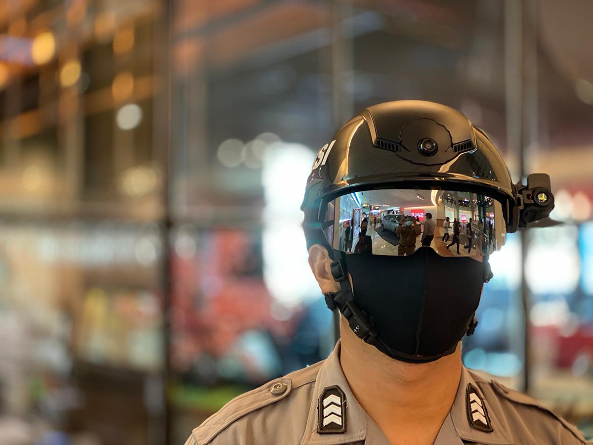 Security Guard wearing helmet